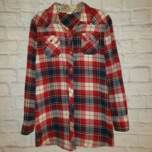Staccato plaid flannel button shirt red & blue